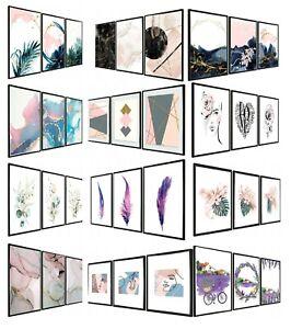 Set of 3 Pink Wall Art Prints Pink Living Room Bedroom Salon Posters Fashion