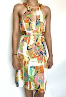 Trina Turk Sleeveless Silk Mix Halter Dress Buckle Retail $228 Price $89 Sz 0