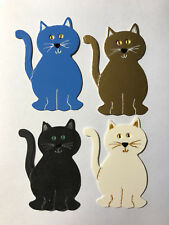 Cat Cats Kittens Blue Gold White and Black Good Luck Die Cuts (Card Toppers)