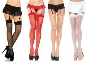 Leg Avenue Sheer Thigh high Plus Size Tall Stockings Black Nude Red