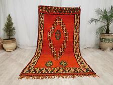"Moroccan Handmade Vintage Carpet 3'8""x7'2"" Floral Orange Nomad Berber Wool Rug"