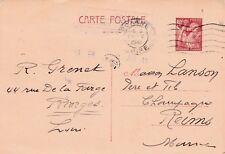 Y292 Carte Postale ENTIER POSTAL  Ecrite 0,90 IRIS oblitération de ROANNE 1941
