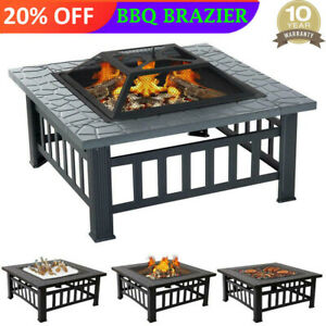 Fire Pit BBQ Firepit Brazier Garden Table Stove Patio Heater Grill UK Shipping