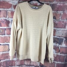 Golf Proquip Weather Wear Sweater Cable Knit XL Wind Stopper Lined Yellow Wool B