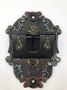 Wilton Cast Iron Match Stick Holder ~ Wall Mount ~ Vintage 1930s Painted Antique