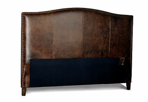 King Size Antique brown Leather headboard for Bed with Distressed Nail Heads