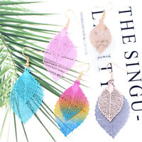 1Pair Fashion Women Ear Jewelry Hollow Alloy Leaf Bead Earrings Long Dangle Drop