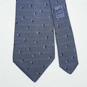 HERMES TIE 7825 UA Polka Dot on Striped Blue Classic Silk Necktie