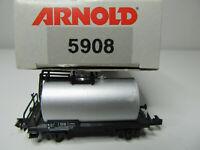 160N - Arnold 5908 - Kesselwagen grau mit Bremserbühne der DB - in OVP - Fehler