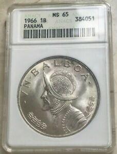 1966 Panama 1 One Balboa - ANACS MS65