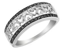 Anel Coração De Diamante Negro 1/4 Quilates Em Prata Esterlina