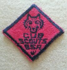 CUB SCOUT WOLF RANK PATCH - 1948 / 1950's - FELT - GAUZE - PRE-OWNED  B00094