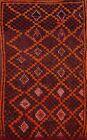Thick-Plush Vintage Authentic Moroccan Geometric Oriental Area Rug Handmade 4x7