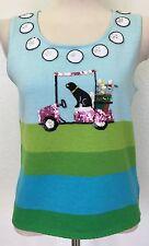 Michael Simon Womens Small Blue Aqua Green Golf Balls Cart Dog Sweater Sequins