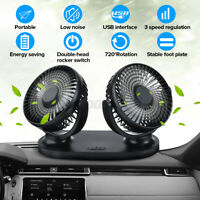 12V 24V USB Electric Car Cooling Fan 360 Rotatable Dual Head 3 Adjustable Speed