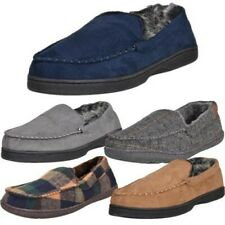 Mens Faux Suede Fur Fleece Warm Slip on Slippers Luxury Moccasins Tartan Shoes