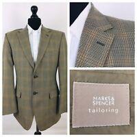 Marks & Spencer Mens Jacket Blazer Chest 40 Brown Tweed Style  YE483