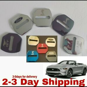 2X Stainless Steel Door Striker Cover Lock Buckle Cap Ford mustang GT350 GT 2.3L