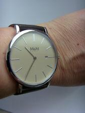 M&M Germany Uhr M11909-547 FLAT LINE geradlinig Lederband braun Saphirglas