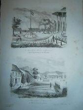 gravure 1839  Océanie Dumont d'Urville Place d'armes  d' Amboine Iles Moluques