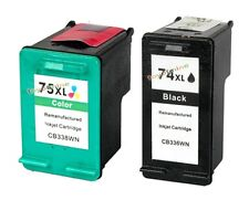2 Refilled Ink for HP 74XL 75XL D4260 C5200 C5240 C5293