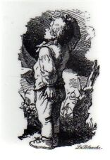 New LA BLANCHE Silicone Rubber Stamp vintage young  boy free USA ship