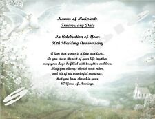 60th Anniversary Gift, Or Any Year, Personalized Poem Gift ~ Doves with Church