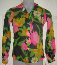 Vtg 1970s Pointy Collar LONG Sleeve BLOUSE--Black/Bright MOD FLORAL--MARDI MODES
