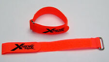 "XTREME RACING 1""X12"" ORANGE BATTERY STRAPS (2) XTR2200 LIPO 1/8 HELICOPTER BUGGY"