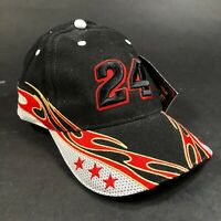NEW NASCAR Hendrick Motorsports Hat Cap Adjustable Black Red Flames #24
