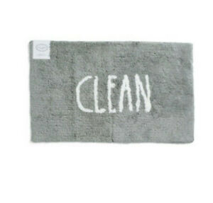 """NEW Rae Dunn Gray """"CLEAN"""" Cotton Bath mat 21""""x 34"""" NWT"""
