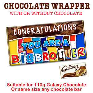 Congratulations You Are a Big Brother Chocolate Bar Wrapper Novelty Gift Present