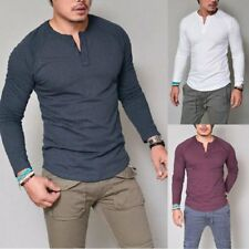 Men's Slim Fit V Neck Long Sleeve Muscle Tee T-shirts Casual Shirts Tops Blouse