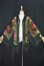 Art to Olive Green Flower Burnout Velvet Fringe Kimono Opera Jacket Coat Duster