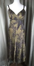 Monsoon Silk Gold Black Empire Line Sun Floral Dress with Belt UK14 EU42