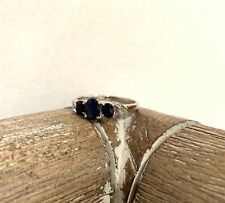 3 Stone Oval Cut Sapphire Ring White Gold Size 7