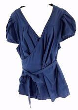 Eshakti True Wrap Top Blouse Cotton Navy Blue Size 3X 26W Plus Career Tie Waist