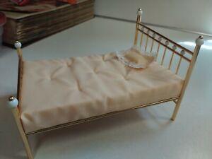 Dollhouse Miniature Single Brass Bed w/Peach Mattress and Pillow