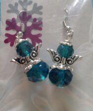 Handmade Jade Green Crystal Bead Angel Christmas Dangle Earrings #1032