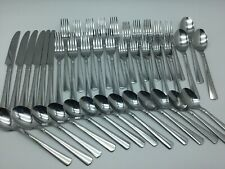 Cambridge Lot Of 42 Glossy Bands Rings Round Flair Tip Stainless Flatware EUC