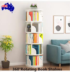 360° Rotating Book Display Shelf 5Tiers Book Storage Rack Bookshelf Home Shelves