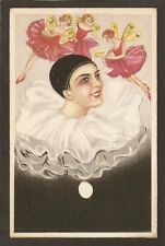 POSTCARD:  PIERROT w/ FAIRIES DRESSED IN RED - UNSIGNED S. CHIOSTRI - SERIES 304