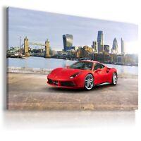 FERRARI 488 GTB RED LONDON Sports Cars Wall Art Canvas Picture AU81 MATAGA