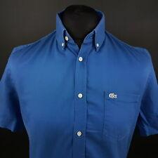 Lacoste Mens Oxford Shirt XS Short Sleeve Blue Regular Fit No pattern Cotton