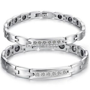 Silver Stainless Steel Link Magnetic Couples Therapy Link Health Bracelet w 5 CZ