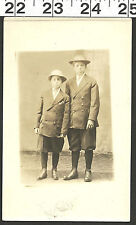 VINTAGE RPPC PHOTO OF 2 HANDSOME YOUNG BOYS WEARING NEAT SUITS WITH HATS #2672