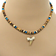 18 inch (46cm) Coconut Bead Fossil Shark Tooth Surf Necklace Great Sharks Teeth