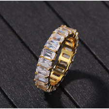 Copper Ring Jewelry Gold Silver Size 7-10 Hip Hop Men Cubic Zirconia Ring Wrap