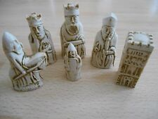 Miniature Isle of Lewis Fantasy Model Resin Chess Set Black & Ivory effect