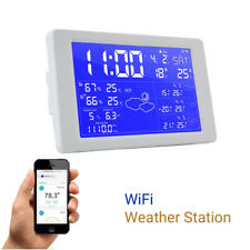 WiFi Weather Station Clock Thermometer Temperature Calendar LCD Alarm For IOS